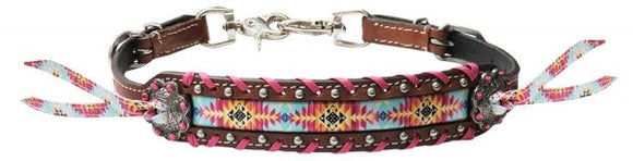 Leather wither strap Navajo Multi colored Print
