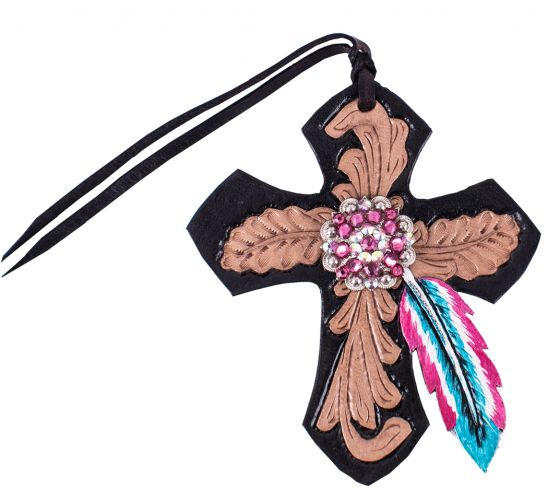 Showman Black Tie On Leather Cross W/ Pink & Turg Feather & Pink Rhinestone Concho