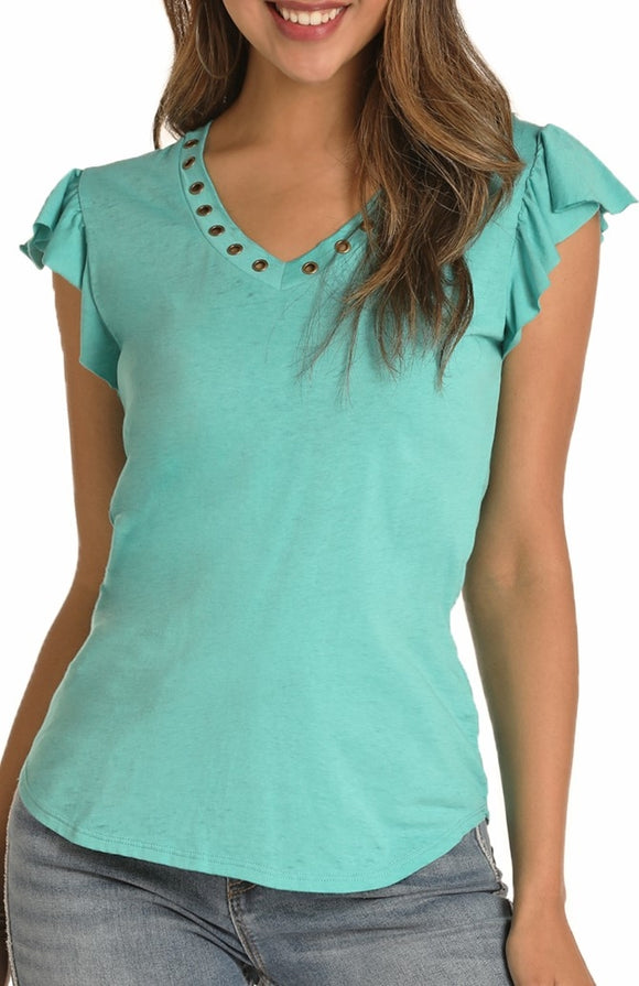 Teal Turquoise Ruffled Sleeve and Grommet Top