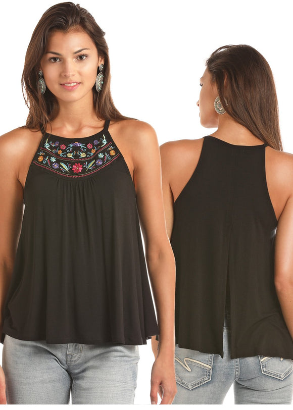 WOMENS BLACK FLORAL TANK