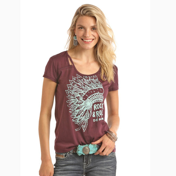 Rock & Roll Cowgirl Women's Burgundy and Turquoise Headdress Tee