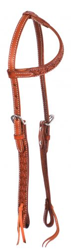 Argentina Cow Leather one ear headstall with scalloped tooling
