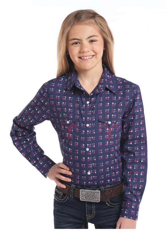 Girls' Navy Arrow Long Sleeve Western Shirt