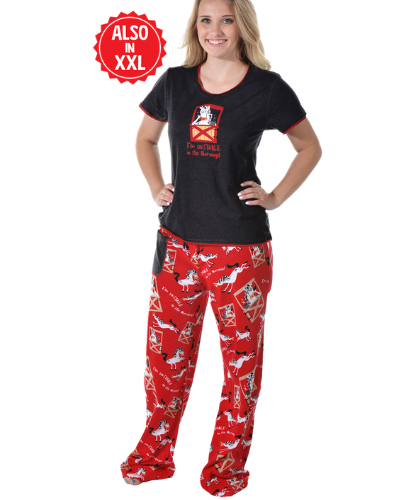 Unstable in the Morning - Horse | Women's Fitted PJ Set