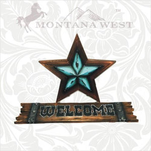 MONTANA WEST TURQUOISE LONE STAR WELCOME SIGN