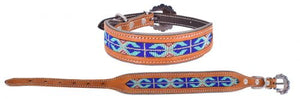 Beaded Leather Dog Collar