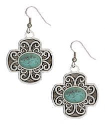 Montana Silversmiths Silver Retro Cross with Turquoise Stone