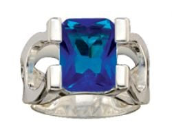 Montana Silversmiths Big and Blue on Horseshoes Ring (Size 7)