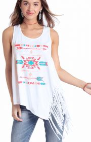 Women's Relaxed Fit Aztec Graphic Tank w/ Side Fringe - White