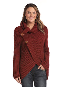 Womans Long Sleeve Waffle Knit Crossover Sweater