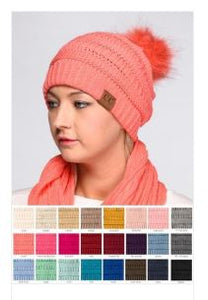 CC Knitted Hat with Fur Pom Pom