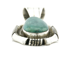 Navajo Pendant .925 Silver Blue Green Turquoise Signed Artist FT C.80's