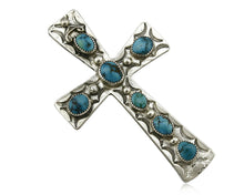 Large Navajo Cross Pendant .925 Silver Sleeping Beauty Turquoise Artist C-E C80s