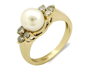 Women's Diamond Pearl Ring 14k SOLID Gold Cocktail 7.45 mm Size 5.5