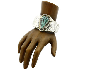 Navajo Bracelet .925 Silver South West Turquoise Artist Signed FG C.80's
