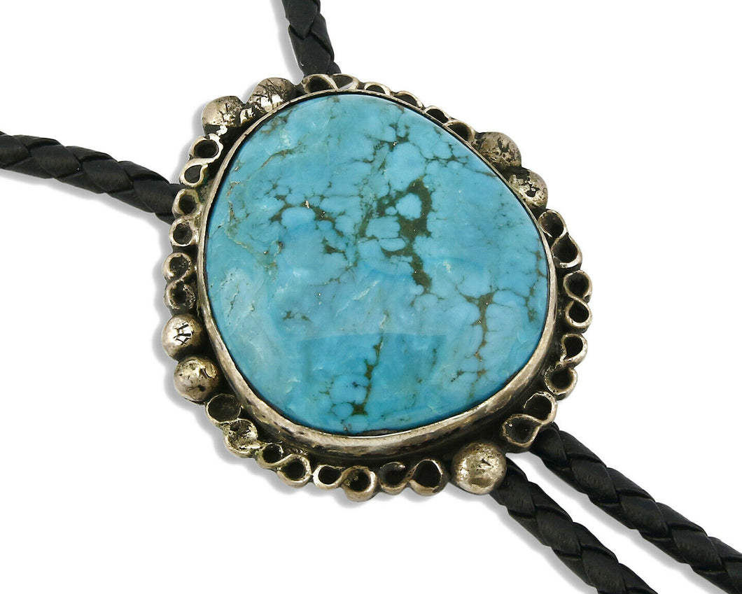 Navajo Bolo Tie .925 Silver Kingman Turquoise Artist Signed The Blue Indian 1991