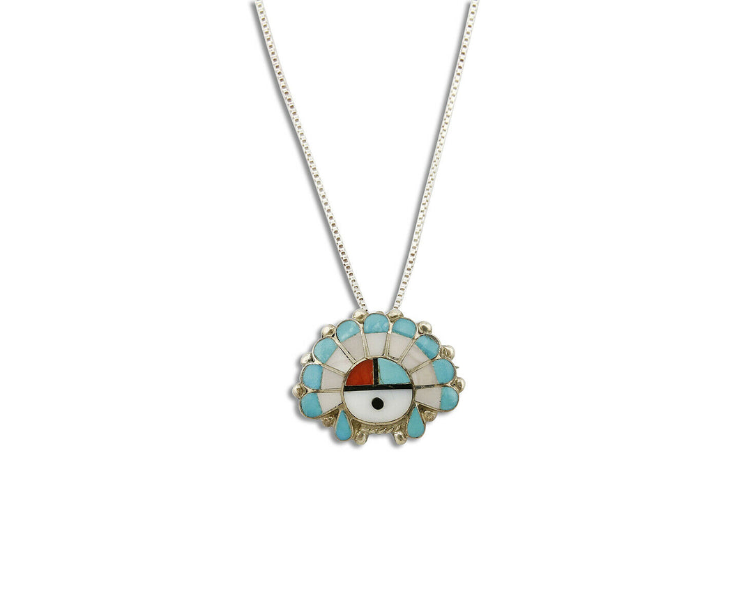 Women's Zuni Sun Navajo Handmade Inlaid Gemstone .925 Silver Necklace