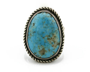 Navajo Turquoise Ring .925 Silver Kingman Turquoise Signed EDDIE C.70's