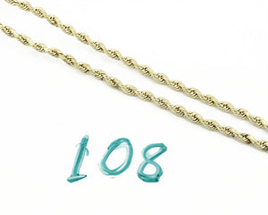 Real 10k Yellow Gold 3.0mm Wide Rope Chain 16.0in Long