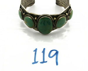 Navajo Bracelet .925 Silver Fox Mine Turquoise Artist JG C.80's Hand Stamped