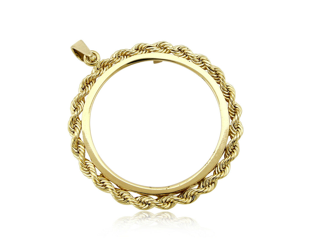 Krugerrand Coin Bezel 14k SOLID Yellow Gold 4 Prong Rope Edge