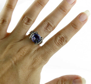 Women's 14k Solid White Gold 4.50 ct Mystic Topaz Solitaire Ring