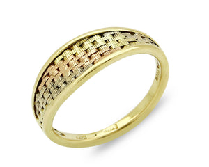 White Rose Yellow SOLID 14k Gold Women's 6.65mm Wide Band