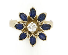 Women's Sapphire Diamond Ring 14k SOLID Yellow Gold 1.0 tcw Size 6.5