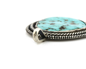 Navajo Pendant .925 Silver Kingman Turquoise Signed Artist Tom Willeto C.80's