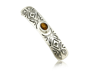 Navajo Tigers Eye .925 SOLID SILVER Hand Stamped 12mm Wide Barrette Hair Clip