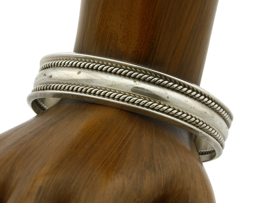 Navajo Bracelet .925 Silver Handmade Hand Stamped Signed Artist TAHE Circa 1980s