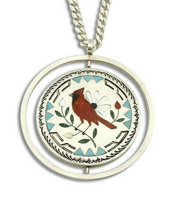 Women's Zuni Pendant Spinner .925 Silver Inlaid Signed S & E Guardian Necklace