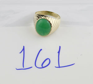 5.26 ct Jade Solitaire Set in SOLID 14k Yellow Gold Ring