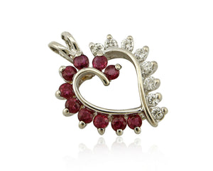 Women's Very High Grade Natural Ruby & Diamond 14k SOLID Gold Heart Pendant