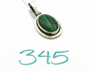 C.80-90's Navajo Handmade .925 SOLID Silver Natural Mined Malachite Necklace