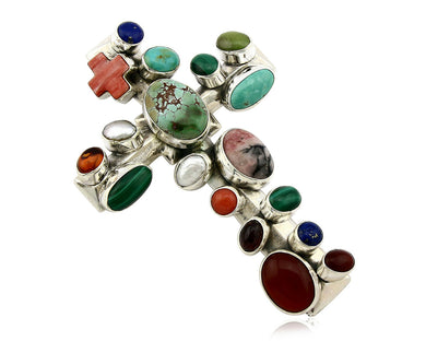 Navajo Cross Pendant .925 Silver All Natural Gemstones Signed NAKAI C.80's