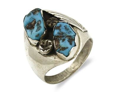 Zuni Ring .925 SOLID Silver Sleeping Beauty Turquoise Signed RNR C.1980's