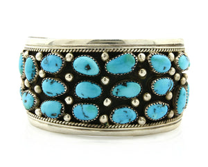 Navajo Bracelet .925 Silver Turquoise Mountain H. Spencer Native American 1990's