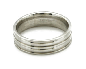 SOLID 14k White Gold 6.5mm Wide Sizable 9.5 Five Row Band