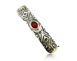 C1990s Navajo Natural Carnelian Agate Hand Stamped 925 Silver Handmade Hair Clip
