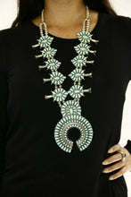 Huge Navajo Squash Necklace .925 Silver Blue Turquoise Artist F.M. Begay