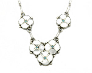 Zuni Simplicio .925 Silver MOP & Turquoise 5 Flower Necklace