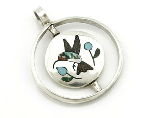 Navajo Bird Spinner Pendant .925 Silver Inlaid Gemstone Signed Baylor C.80's