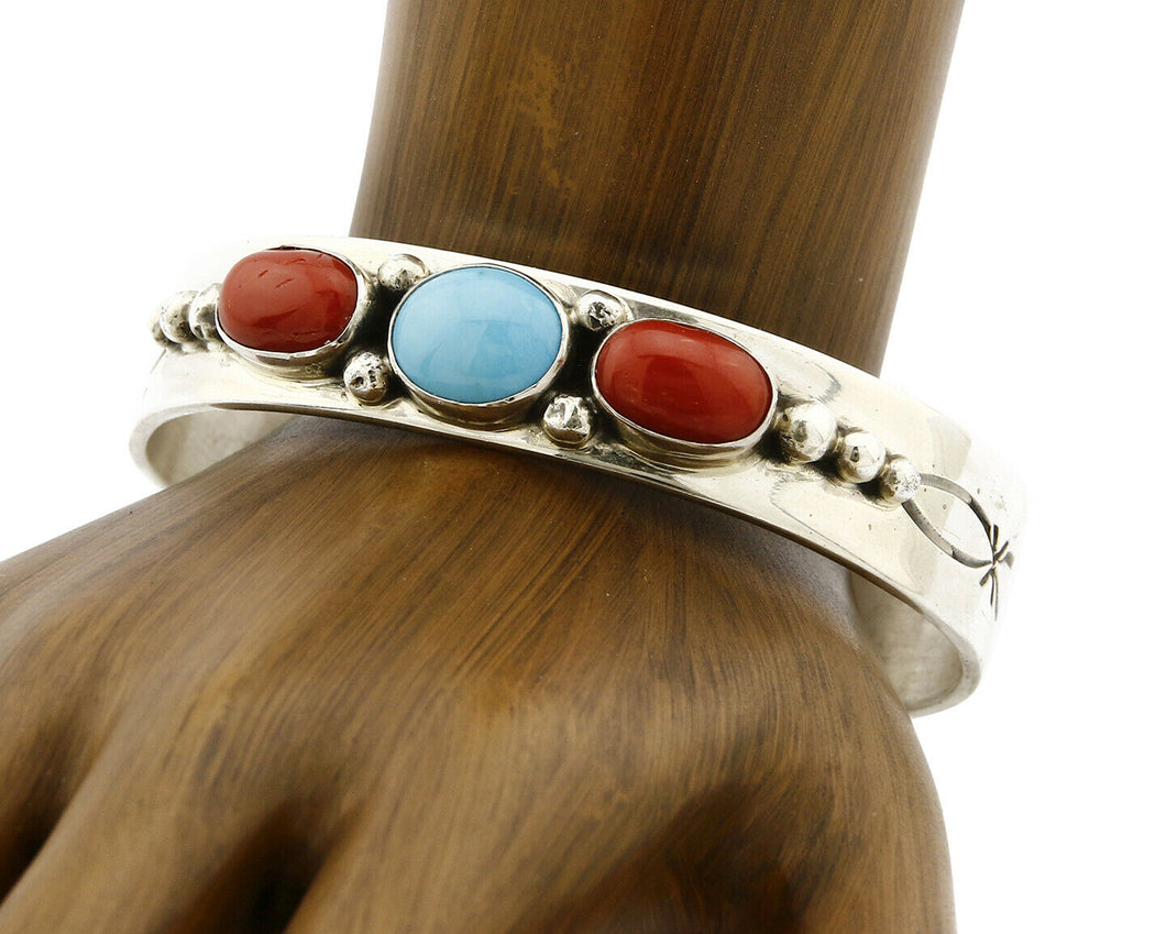 Navajo Bracelet .925 Silver Coral Turquoise Cuff Signed L. James C.80's