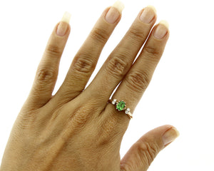 Women's Very High Quality Natural Diamond & Tourmaline 14k Gold Ring