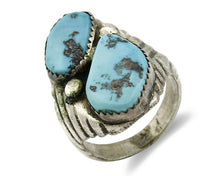 ZUNI Ring .925 SOLID Silver Sleeping Beauty Turquoise Native American C.1980's