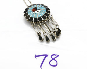 Women's Zuni Pin Pendant .925 Silver Inlaid Signed Burdian Soseeah