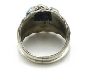 Zuni Ring .925 SOLID Silver Sleeping Beauty Turquoise Max Calabaza C.1980's