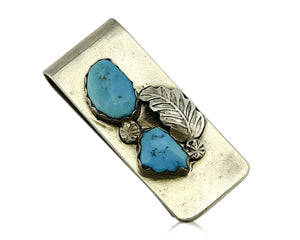 Zuni Money Clip .925 Silver & Nickle Sleeping Beauty Turquoise Artist Nastacio