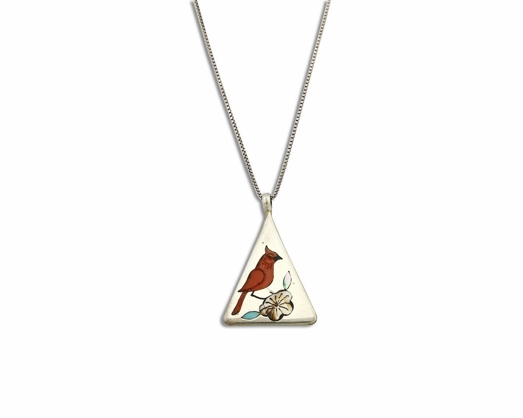 Zuni Inlaid Gemstone Pendant Red Robin .925 Silver Signed WATCHMAN Necklace